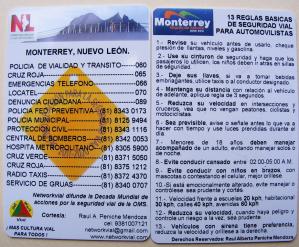 Tarjeta en PVC con las 13 Reglas Básicas de Seguridad Vial para automovilistas