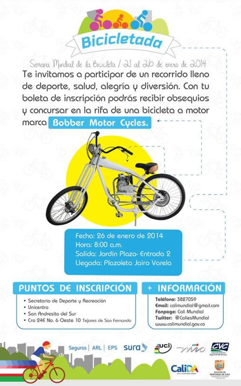 Promocional de la bicicletada en Cali, que tiene como incentivo la rifa de una bicicleta a motor (motocicleta).