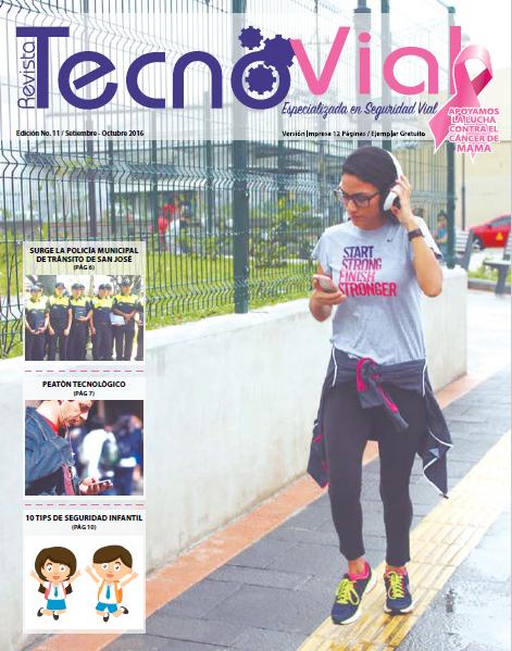 Portada de la Revista Tecnovial, especializada en temas de seguridad vial y tecnología vial.