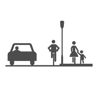 Car, bicyclist and pedestrians:mother and child